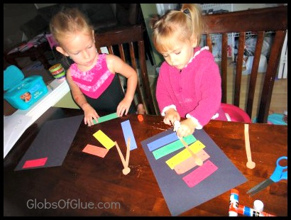kids making xylophone