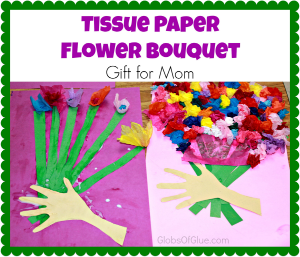 tissue paper flower bouquet gift for mom